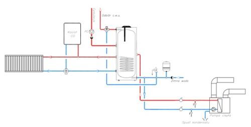 Schemat podłączenia pompy ciepła HEWALEX PCWU-3,8H-A3